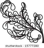 a black and white leaves floral ... | Shutterstock .eps vector #15777280