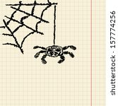 sketch spider on the cobweb for ...   Shutterstock .eps vector #157774256