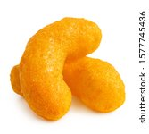 Small photo of Two extruded cheese puffs isolated on white.