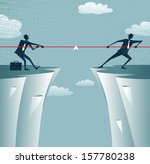 Abstract Businessmen Tug of war on a cliff. Great illustration of Retro styled Businessmen embroiled in a war of attrition on the top of the cliffs.  - stock photo