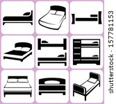 bed icons set | Shutterstock .eps vector #157781153