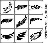 wings set - stock vector