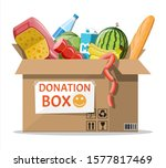 cardboard box full of food.... | Shutterstock . vector #1577817469