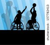 active disabled men basketball... | Shutterstock .eps vector #157782413