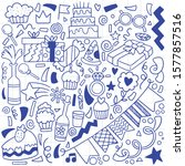 hand drawn party doodle happy... | Shutterstock .eps vector #1577857516