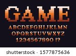 pixel classic serif font with... | Shutterstock .eps vector #1577875636