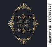 hand drawn golden vignette oval ... | Shutterstock .eps vector #1577882326