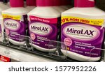 Small photo of San Jose, CA - November 29, 2019: MiraLAX unflavored powder relieves constipation and softens stool. White bottle with pink cap.