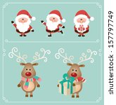 set of cute santa claus and... | Shutterstock .eps vector #157797749