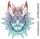 folk magic jackalope beast with ... | Shutterstock .eps vector #1578012826
