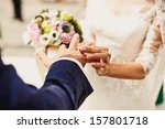 holding hands with wedding rings | Shutterstock . vector #157801718