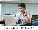chinese business man talking on ...   Shutterstock . vector #157806356