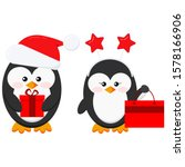 Cute Christmas Penguin Boy And...