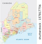 maine administrative map | Shutterstock .eps vector #157817756