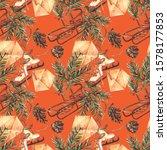 watercolor christmas seamless...   Shutterstock . vector #1578177853