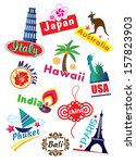 world country label icon set | Shutterstock . vector #157823903