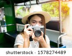 young woman taking photo camera ... | Shutterstock . vector #1578274489