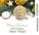 golden christmas ball and... | Shutterstock . vector #157829363