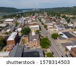 Downtown Madison, Indiana, and the Ohio River as viewed from the air