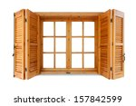 Wooden Window With Shutters...