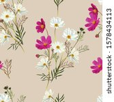 Cosmos Flower Seamless Pattern...