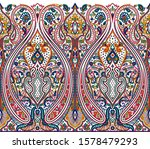 seamless paisley border with...   Shutterstock . vector #1578479293