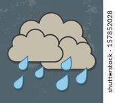 Cloud And Rain Isolated On Dar...