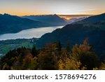 Sunset over Lake Thun (Thunersee) in autunm, Hader Klum viewpoint Interlaken. Switzerland - stock photo