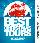 Best Christmas tours design template. - stock vector