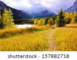 Vibrant colors of the Canadian Rockies during autumn - stock photo