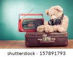retro teddy bear  old suit case ... | Shutterstock . vector #157891793