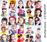 Stock photo collage of funny people faces looking silly fish eyed shots 157892459