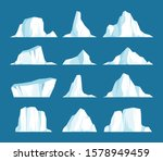 Vector Set Of Floating Icebergs ...