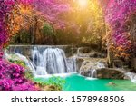 Waterfall Colorful Leaves In...