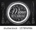menu restaurant lettering on a...   Shutterstock . vector #157896986