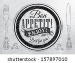 poster lettering bon appetit...   Shutterstock . vector #157897010