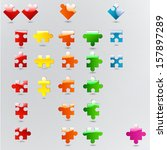 all possible shapes of puzzle... | Shutterstock .eps vector #157897289