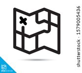 folding map line icon....