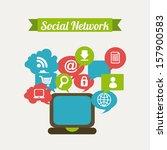 social network over white... | Shutterstock .eps vector #157900583