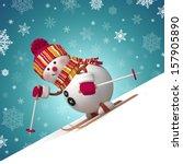 3d skiing snowman christmas... | Shutterstock . vector #157905890