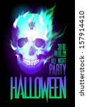 halloween party design with... | Shutterstock .eps vector #157914410