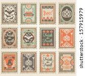 vector postage stamps set....   Shutterstock .eps vector #157915979