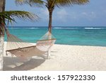idyllic beach with coconut... | Shutterstock . vector #157922330