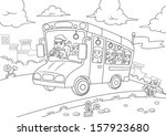 school bus outline for coloring ... | Shutterstock .eps vector #157923680