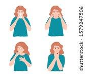 symptoms of illness   runny... | Shutterstock .eps vector #1579247506