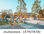 Small photo of Tokyo, Japan - Nov 1, 2019: Olympic symbol logo at Japan New National Stadium in Shinjuku. Tokyo Summer Olympic 2020 host venue, international multi-sport event, or Japanese landmark concept