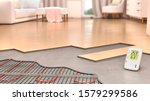 System of underfloor heating in interior design, 3d illustration - stock photo