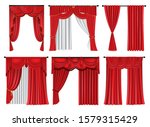 set of red luxury curtains and... | Shutterstock .eps vector #1579315429