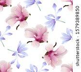 pink magnolia. violet... | Shutterstock .eps vector #1579389850