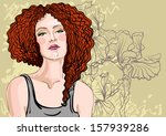 vector portrait of a beautiful... | Shutterstock .eps vector #157939286